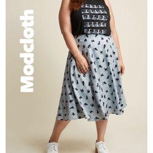 Modcloth Grey cat Circle Skirt High Waist Pockets